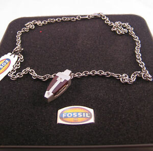 FOSSIL STAINLESS STEEL WOOD NECKLACE JF83993040 BNWT