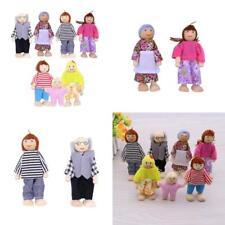 7 Personen Puppenfamilie Biegepuppen Holz Stoff Kinder Spielzeug Für Puppenhaus