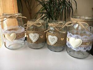 4 Rustic Wedding Jars Table Centrepiece Candle Holder Vase Decor Handmade