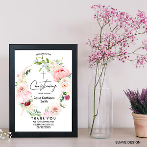 Christening Baptism Welcome Sign Poster Personalised Naming Communion A4 A3 A2
