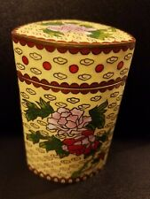 """Chinese Cloisonne Enamel on Brass Yellow Floral Triangle Jar with Lid 4 1/4""""h"""