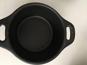 (4) Staub La Cocotte Mini #10 Black Ceramic Pot w/ Lid Made in France, 1/4 qt
