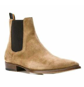 46 45 Mens Ankle Chelsea Boot Pointy Toe Roma Leather Suede Slip On Casual Shoes