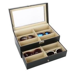 12 Slots Eyeglass Sunglasses Glasses Storage Display Grid Stand Case Box Holder