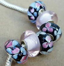 Pink Blue Lampwork Flowers Solid Black Single Core European Murano Glass Beads