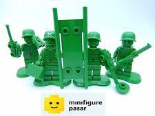 Lego Toy Story 7595 - 4x Green Army Minifigures w Accessories & Stretcher - New