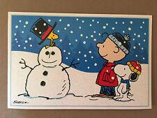 """Peanuts Charlie Brown, Snoopy, Woodstock Christmas Card/Envelope~7 3/4"""" X 5""""~NEW"""