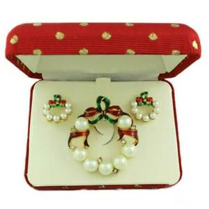 White Pearl Christmas Wreath Brooch and Earring Boxed Jewelry Gift Set - XP113BS