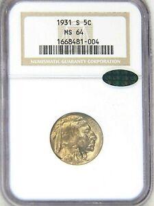 1931-S Buffalo Nickel NGC MS64 CAC Superb Luster, Premium Quality #73U