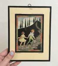Vintage Marjory Hood Art Plaque Feat. Jack & Jill London England Kids Decor Room