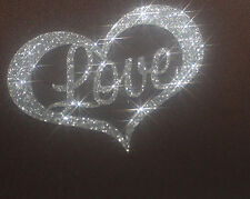 Coeur Love silver argenté  patch termocollant à customiser hotfix Glitter 7 cm