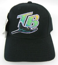 TAMPA BAY RAYS MLB VINTAGE SNAPBACK 1990s RETRO BLACK CAP HAT NWT! LOGO ATHLETIC