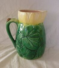 Antique Majolica Pitcher Water Lily Leaves and Blossom - Pink Interior