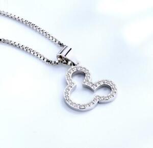 Disney Mickey Mouse Silver SP Cubic Zirconia Pendant Necklace