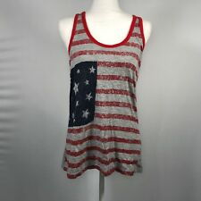 US POLO ASSN Women Athletic Tank Top Cami Size Large American Flag Patriotic D90