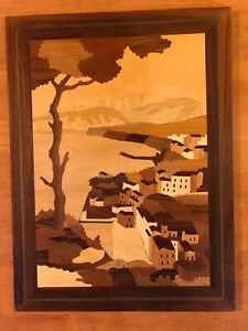 VTG Italy Inlaid Wood Marquetry Picture Botteguccia Sorrento Italy Amalfi Coast