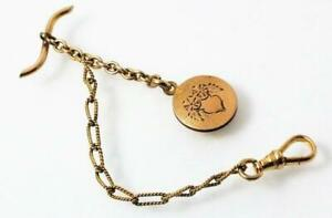 ANTIQUE VICTORIAN GOLD FILLED POCKET WATCH FOB CHAIN ETCHED CHARM SIGNED F