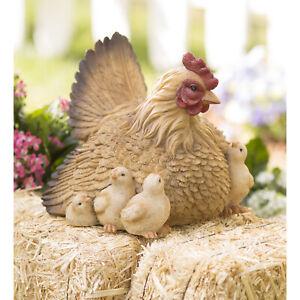 Hen Chicks Statue Outdoor Chicken Figurine