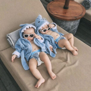 Newborn Infant Baby Boy Girl Kids Soft Hooded Blanket Bath Towel Animal Bathrobe
