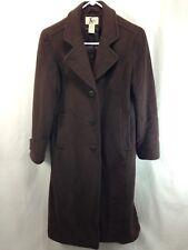 LL Bean Coat Jacket Womens 6 Petite Brown 100% Lambswool Long Peacoat