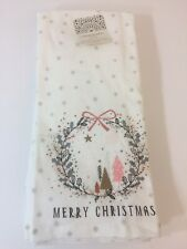 CYNTHIA ROWLEY (2)  KITCHEN TOWELS MERRY CHRISTMAS TREES 100% COTTON NWT