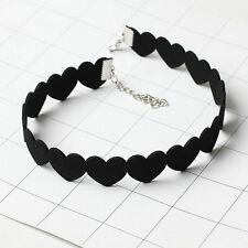 Women Black Love Heart Velvet Choker Collar Necklace Jewelry Fashion Accessories