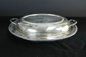VTG Silverplate Lidded Oval Serving Dish With Glass Insert Reticulated Rim