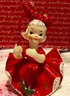 Vintage HOLT HOWARD Red Christmas Bloomer Girl Figurine Candle Holder JAPAN
