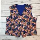 Womens Handmade Patriotic American Flag Old Glory Button Vest Size M/L
