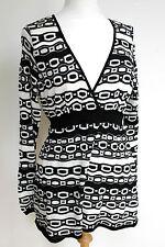 Missoni M Black White Lace Knit Faux Wrap Top  UK 14-16