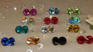 S/P Stud Earrings & 8mm Resin Rhinestones-Choose Colour- Gifts-Wedding-Party