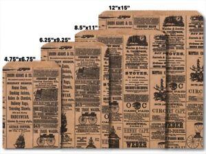 NEWSPRINT KRAFT Design Flat Paper Merchandise Bags Choose Size & Package Amount