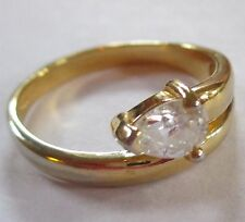 SUPER SPARKLE bridal engagement costume PEAR RHINESTONE gold tone ring 9.5 VGUC