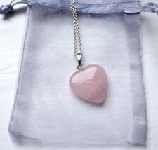 "Necklace Rose Quartz Heart Pendant Sterling Silver 18"" Chain Free Silk Bag Gift"