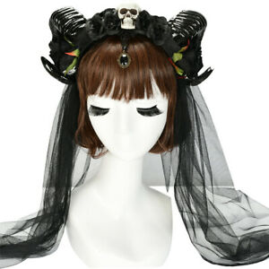 Halloween Demon Skull Sheep Horn Headband Cosplay Party Women Headdress Gothic