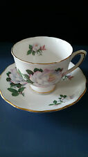 Royal Yale Bone China Cup & Saucer White with Gold Trim and Pink Rose