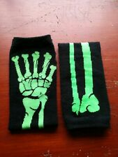 Elbow Length Skeleton Gloves/Mittens Green