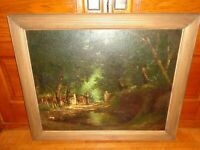 Antique Oil on Canvas Painting of a Woods by Miline Ramsey, Listed Artist