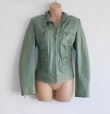 Green Leather ALEKSANDER Semi Fitted Hips Length Zip Women's Coat Jacket Size 38