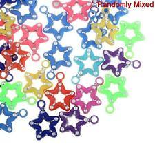 300 X Mixto Color 17mm Star encantos, Star Colgantes, Star espaciador granos #c -159