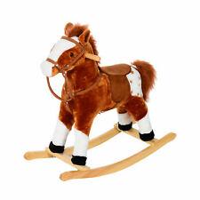 HOMCOM Children Rocking horse Plush Kids Wooden Riding Pony w/ Sound Brown
