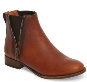 FRYE Carly Zip Chelsea Cognac Leather Boots Size 7