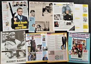 James Bond 007 magazine clippings: Roger Moore, Sean Connery, Pierce Brosnan