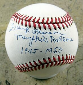 Frank Pearson - Autographed Ball - Memphis Red Sox  - Negro Leagues 1944-50
