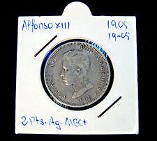 2 Pesetas Alfonso XIII 1905 (*05) Plata MBC+
