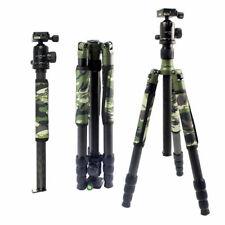 Professional Carbon Fiber Tripod Kit Army Olive Green Camouflage Sleeve Monopod