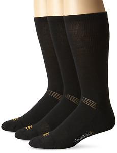 PowerSox Men's 3-Pack Cushion Crew Socks with Coolmax, Black, Shoe Size: 9-12.5