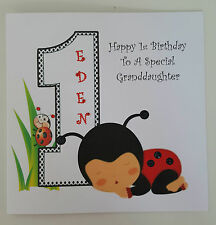 *Large Personalised 1st Birthday Card Ladybird Granddaughter Son Godson ANY AGE*