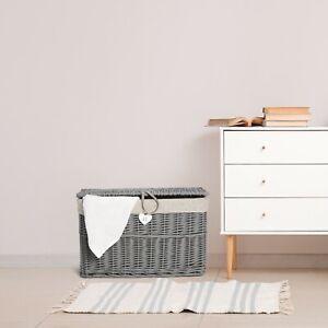 Wickerfield Grey Wicker Basket, Storage Chest Trunk Hamper with Cloth Linning