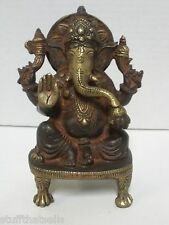 "Ganesh Seated Brass Statue - 6"" - Patina Finish"